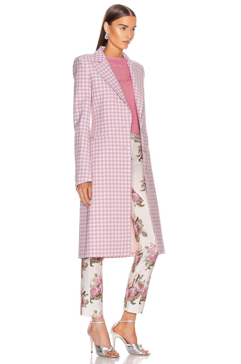 Image 3 of PACO RABANNE Plaid Check Coat in Pink Vichy