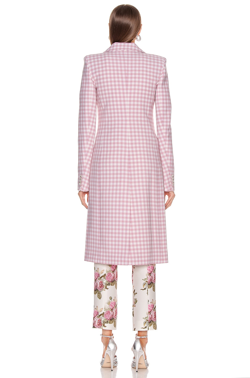 Image 5 of PACO RABANNE Plaid Check Coat in Pink Vichy