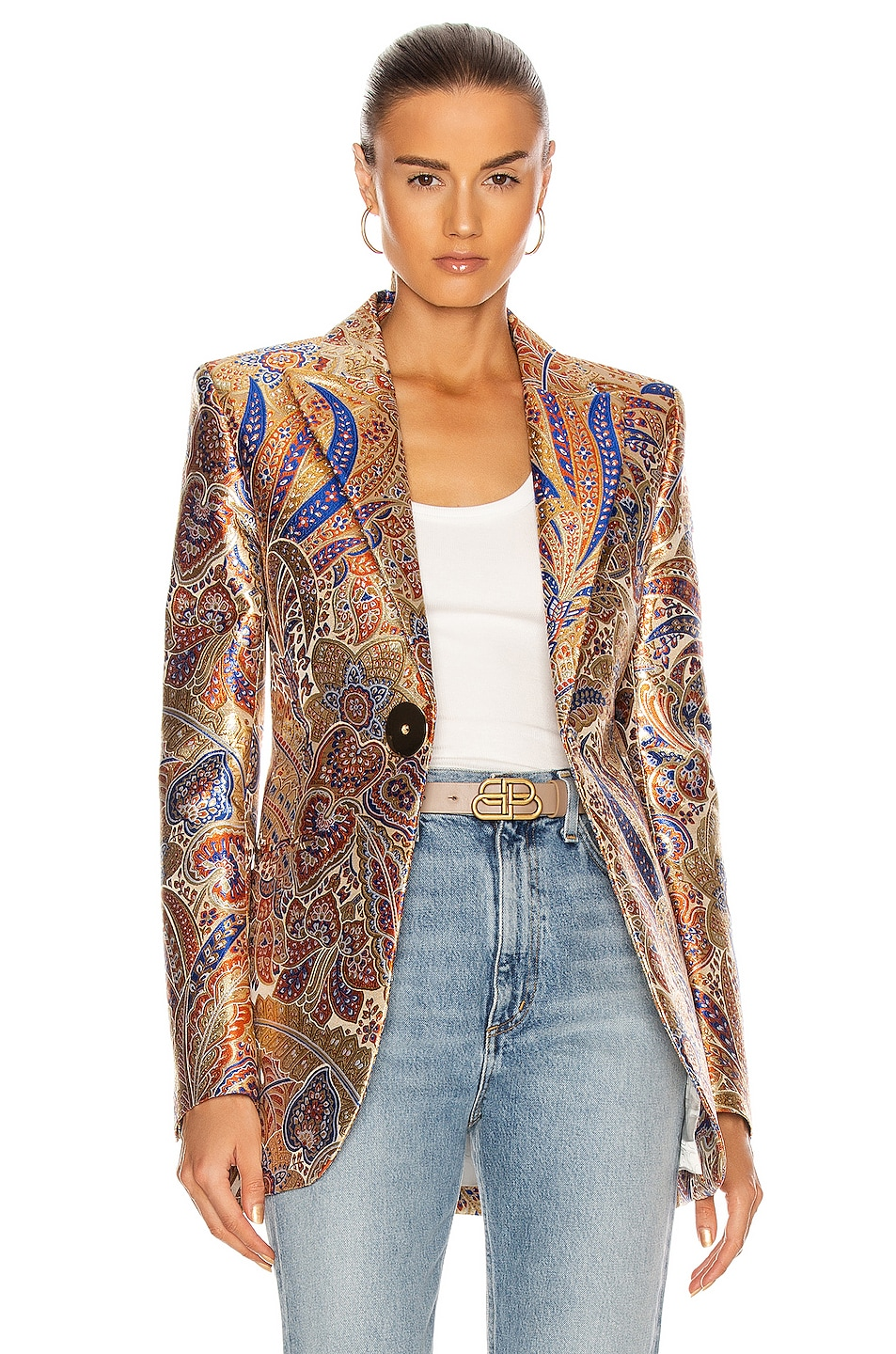 Image 1 of PACO RABANNE Single Breasted Blazer in 70s Metal Paisley
