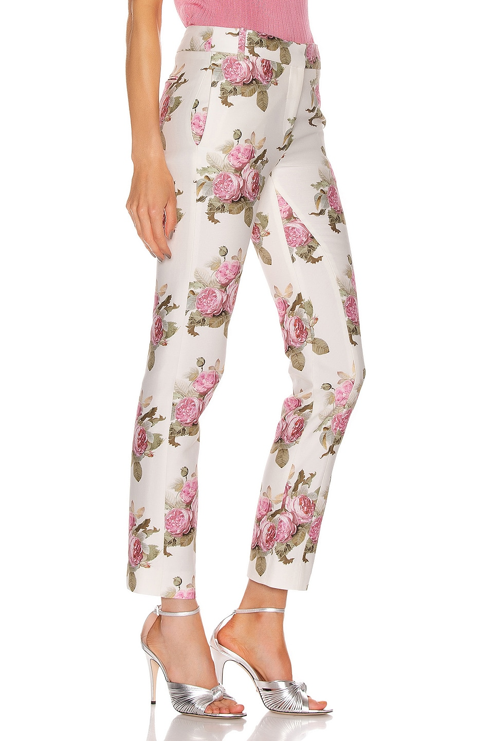 Image 2 of PACO RABANNE Floral Printed Trouser Pant in Light Beige Bouquet