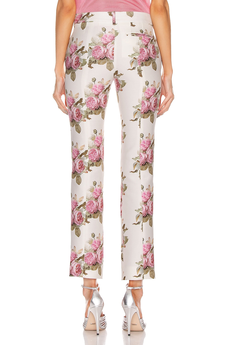 Image 3 of PACO RABANNE Floral Printed Trouser Pant in Light Beige Bouquet