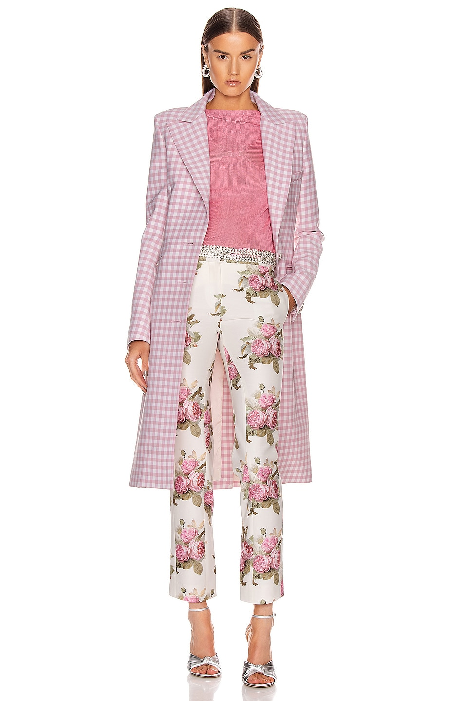 Image 4 of PACO RABANNE Floral Printed Trouser Pant in Light Beige Bouquet