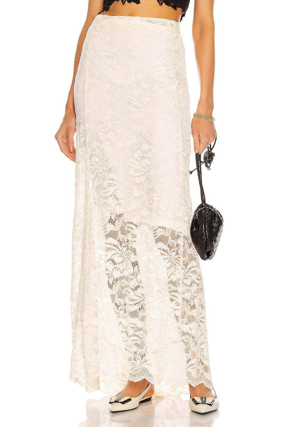 Image 1 of PACO RABANNE Lace Maxi Skirt in Ivory