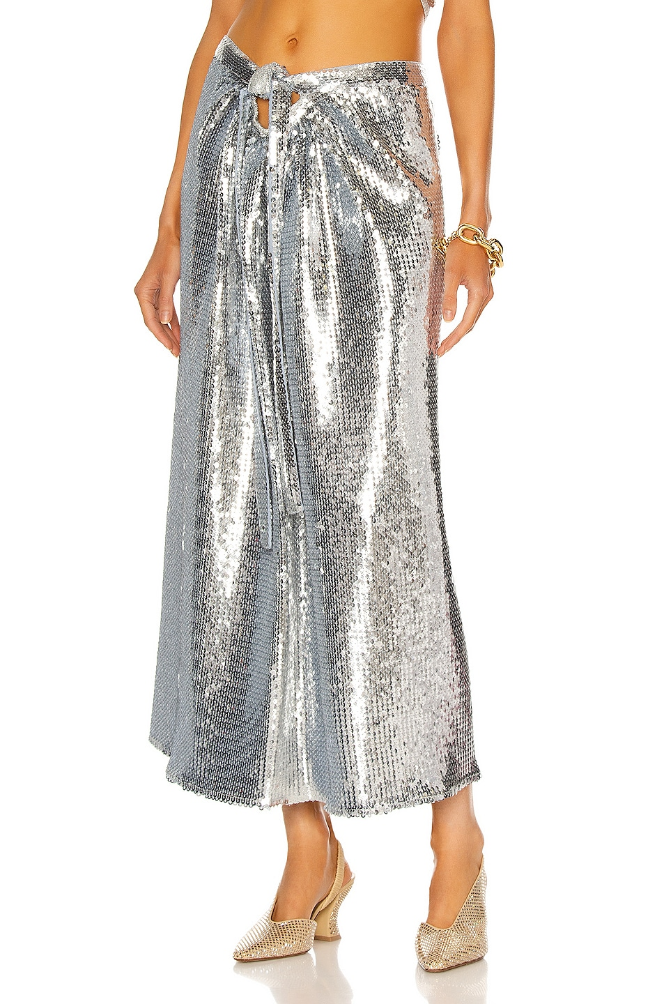Image 1 of PACO RABANNE Draped Sequin Skirt in Silver