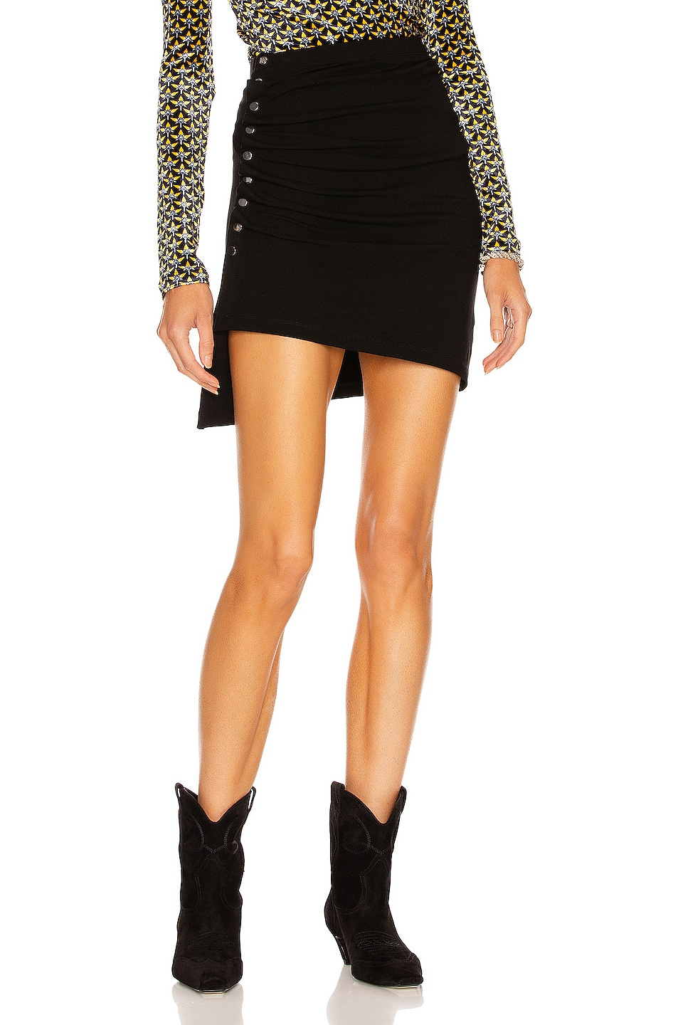 Image 1 of PACO RABANNE Ruched Asymmetric Mini Skirt in Black