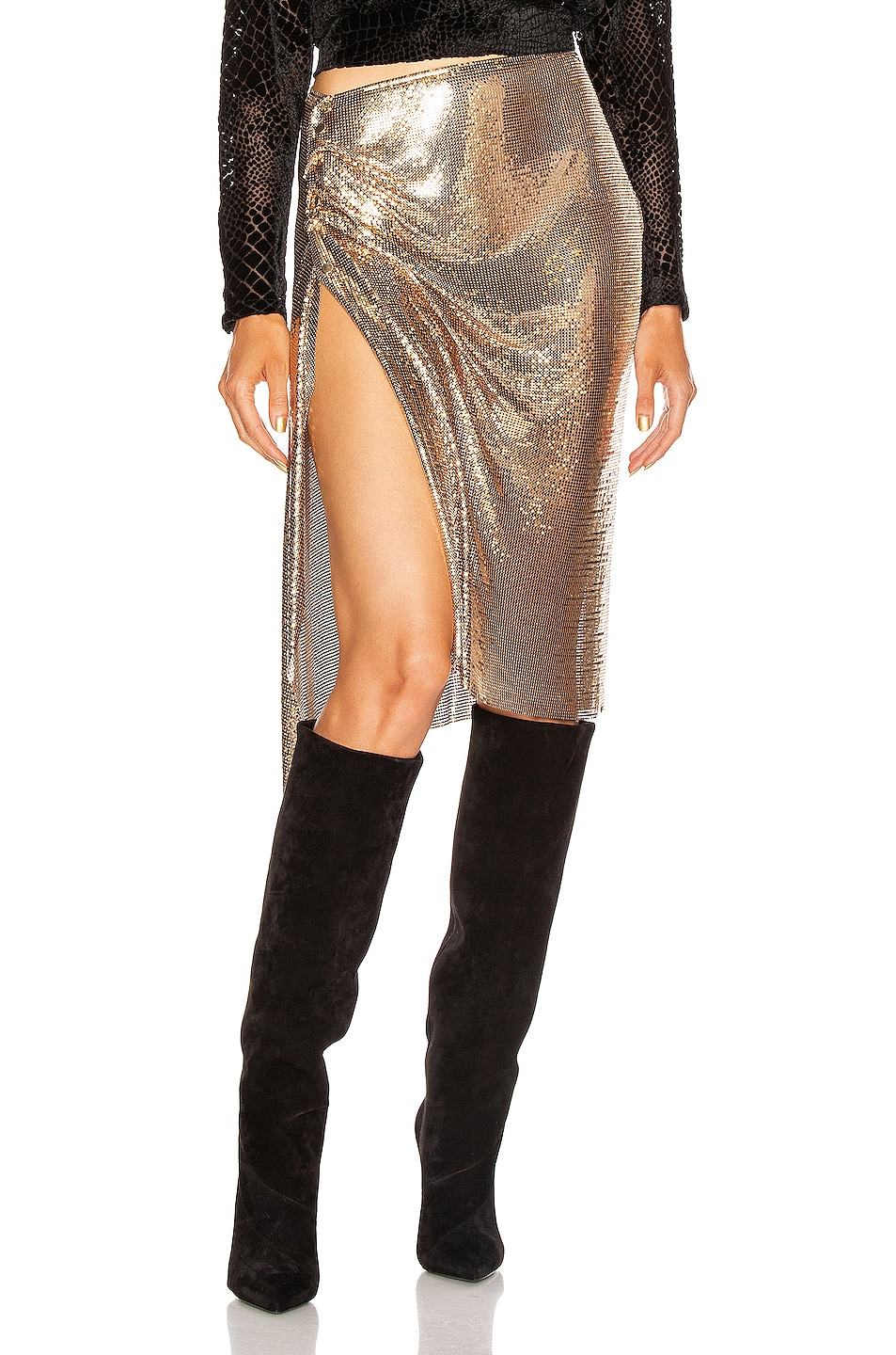 Image 1 of PACO RABANNE Mesh Skirt in Gold