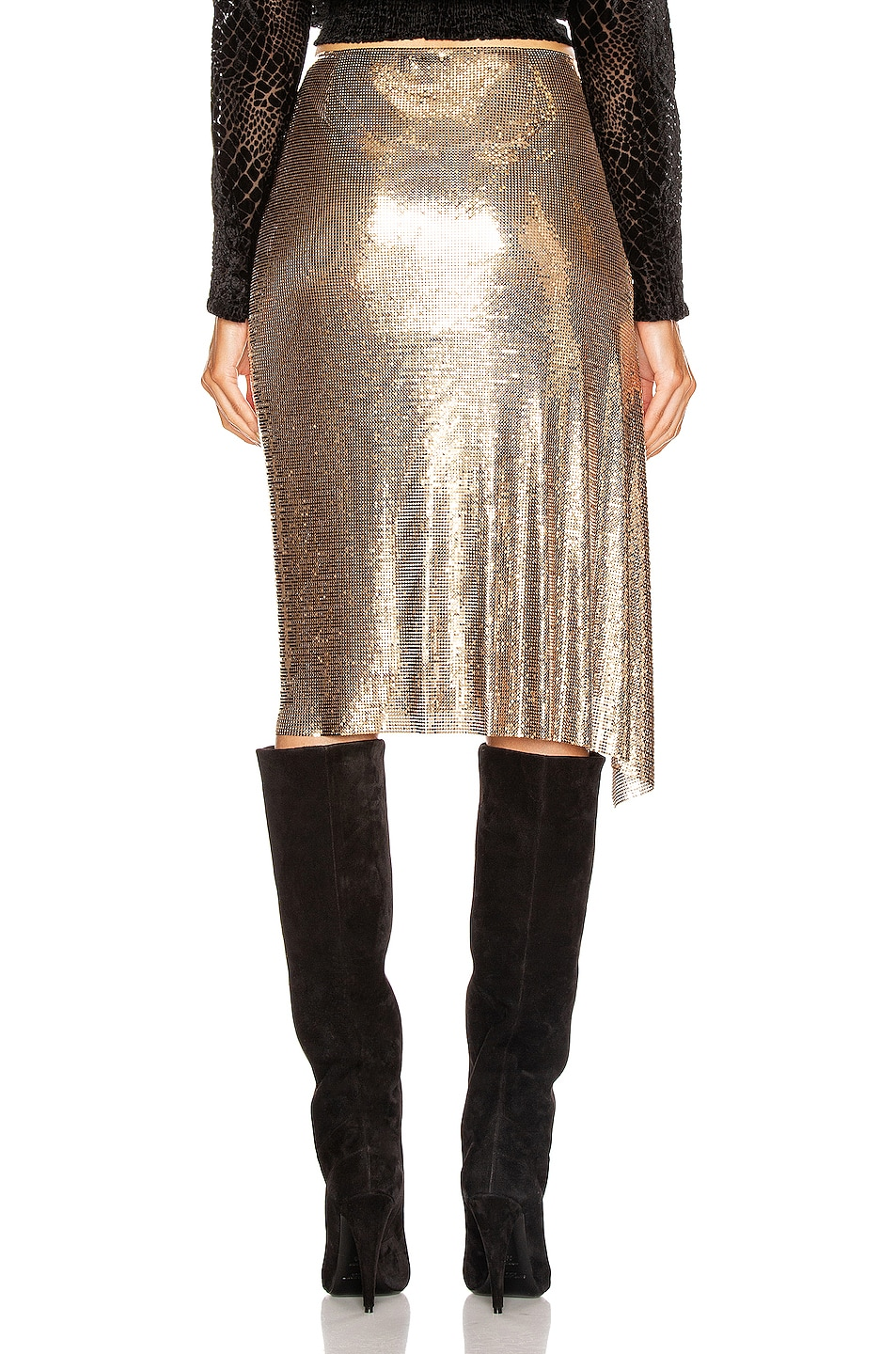 Image 4 of PACO RABANNE Mesh Skirt in Gold