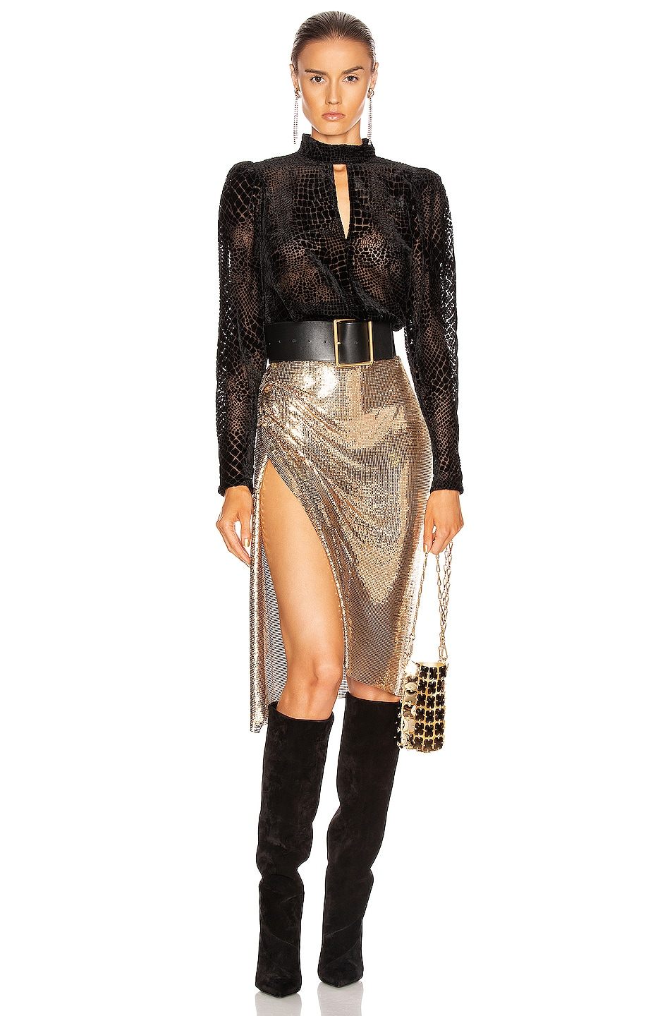 Image 5 of PACO RABANNE Mesh Skirt in Gold