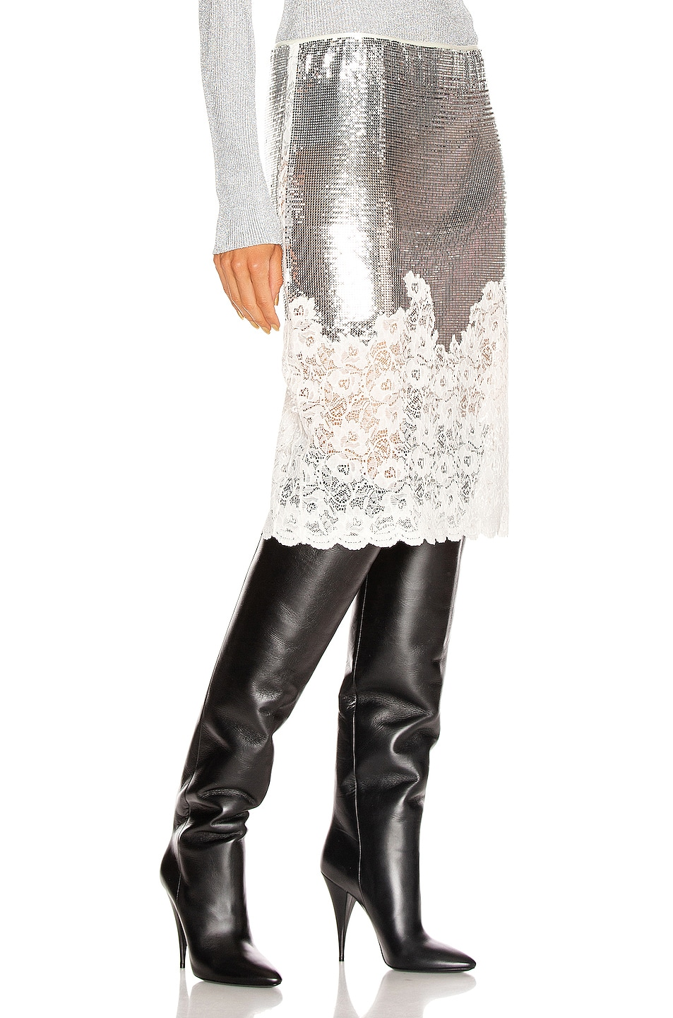 Image 2 of PACO RABANNE Mesh Lace Skirt in Silver