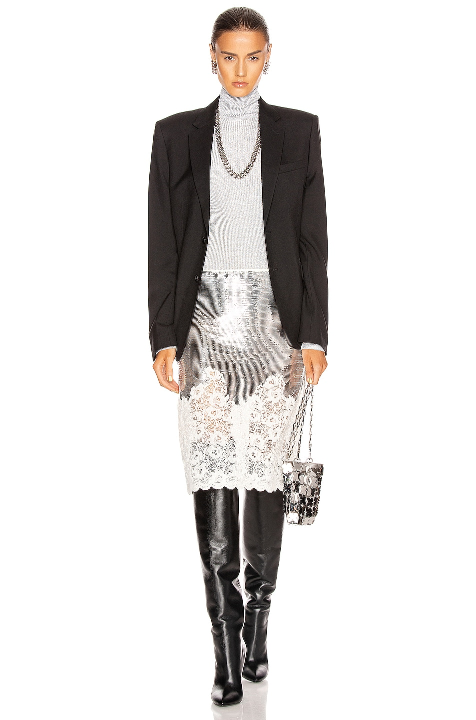 Image 4 of PACO RABANNE Mesh Lace Skirt in Silver