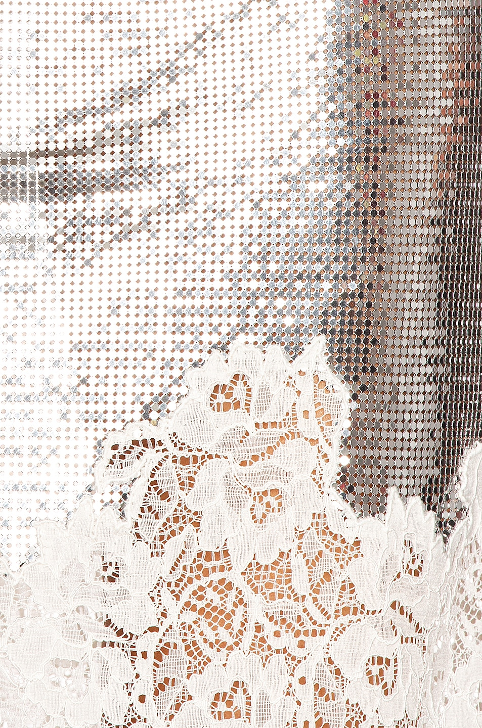 Image 5 of PACO RABANNE Mesh Lace Skirt in Silver