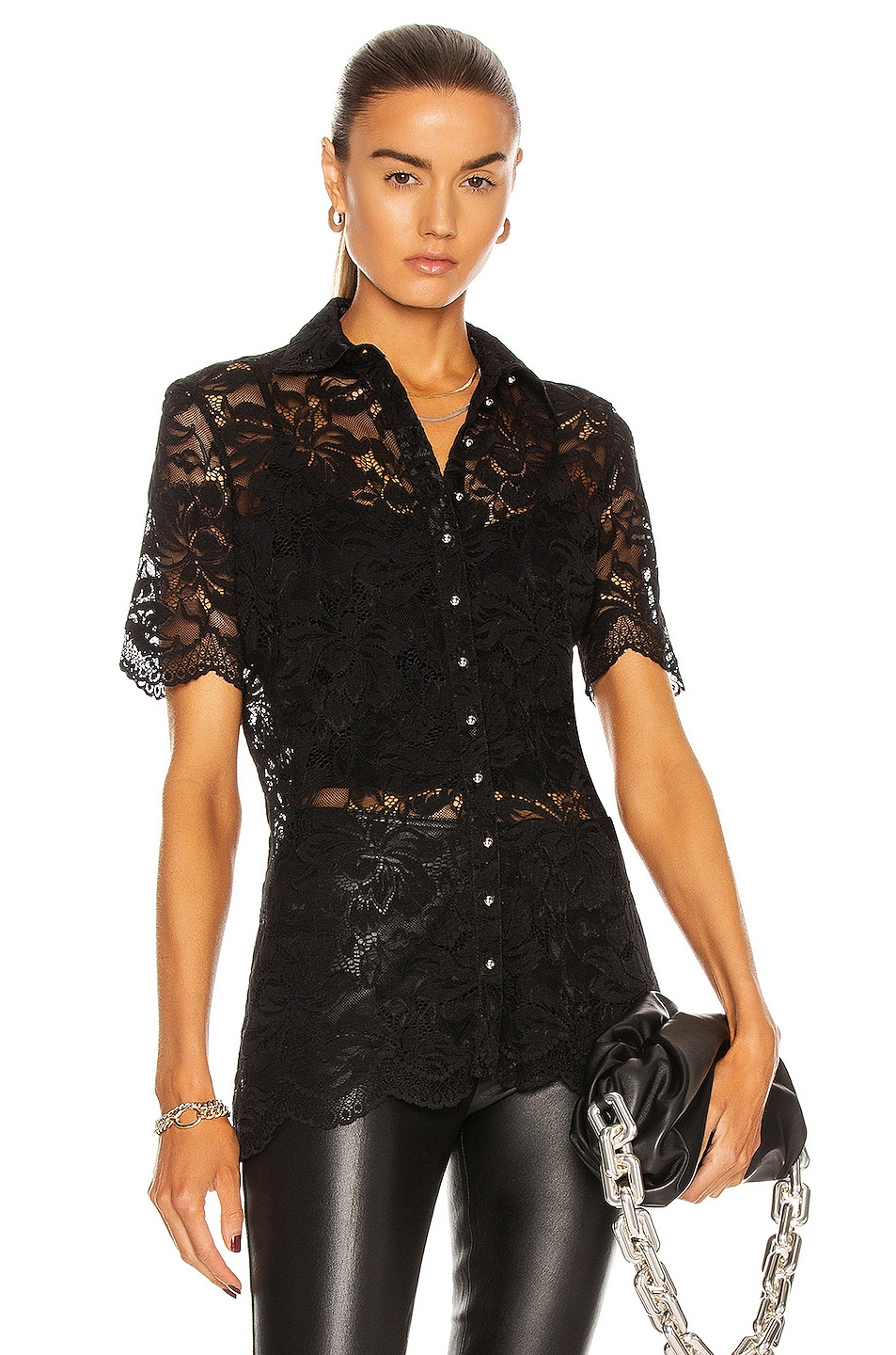 Image 1 of PACO RABANNE Short Sleeve Lace Shirt in Black