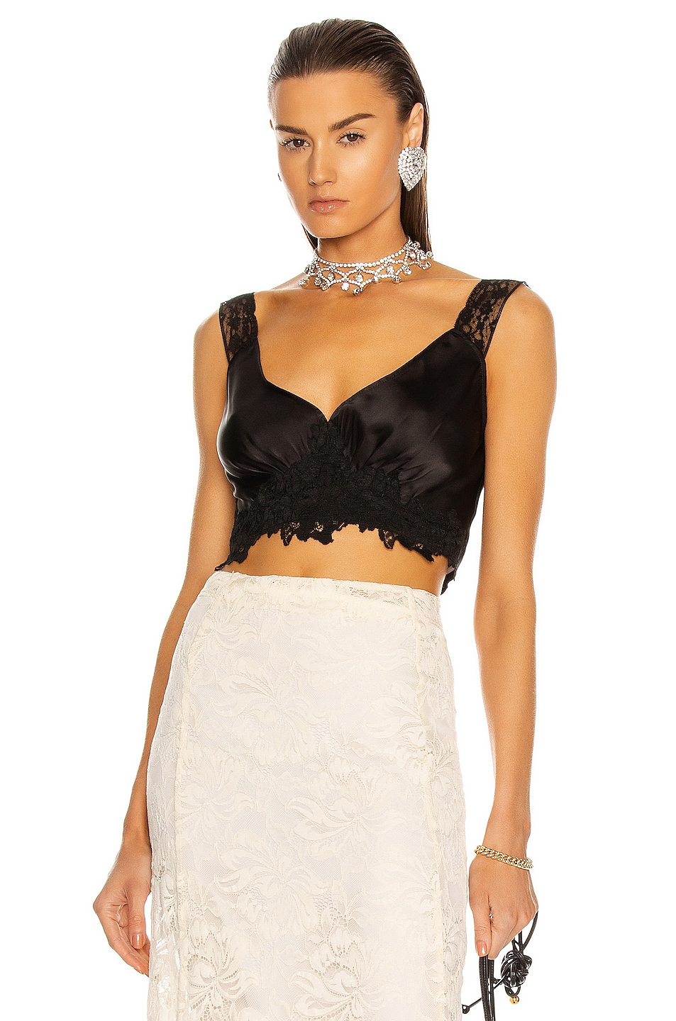 Image 1 of PACO RABANNE Lace Trim Crop Top in Black