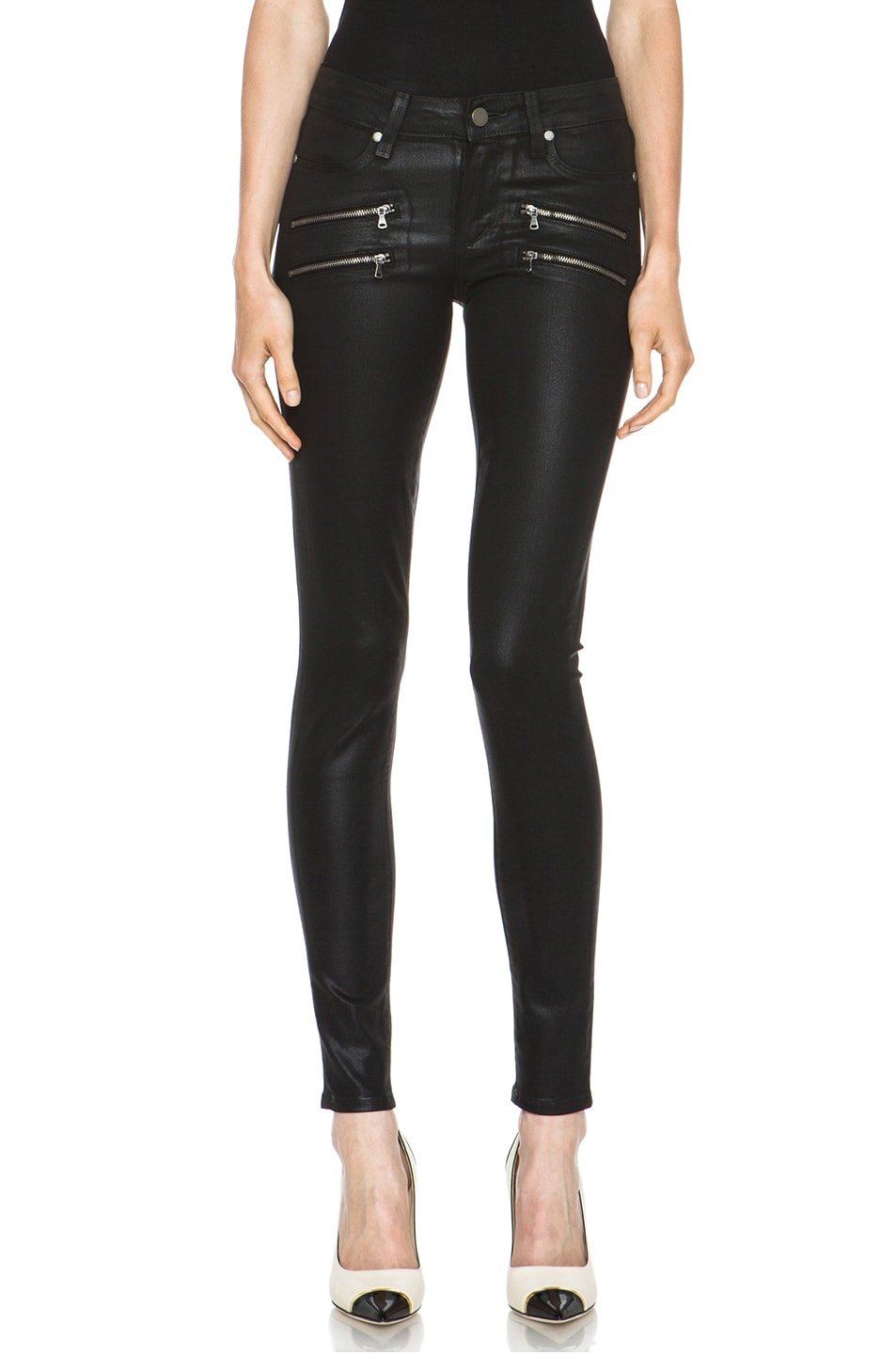 Paige edgemont ultra skinny in black silk fwrd for The edgemont