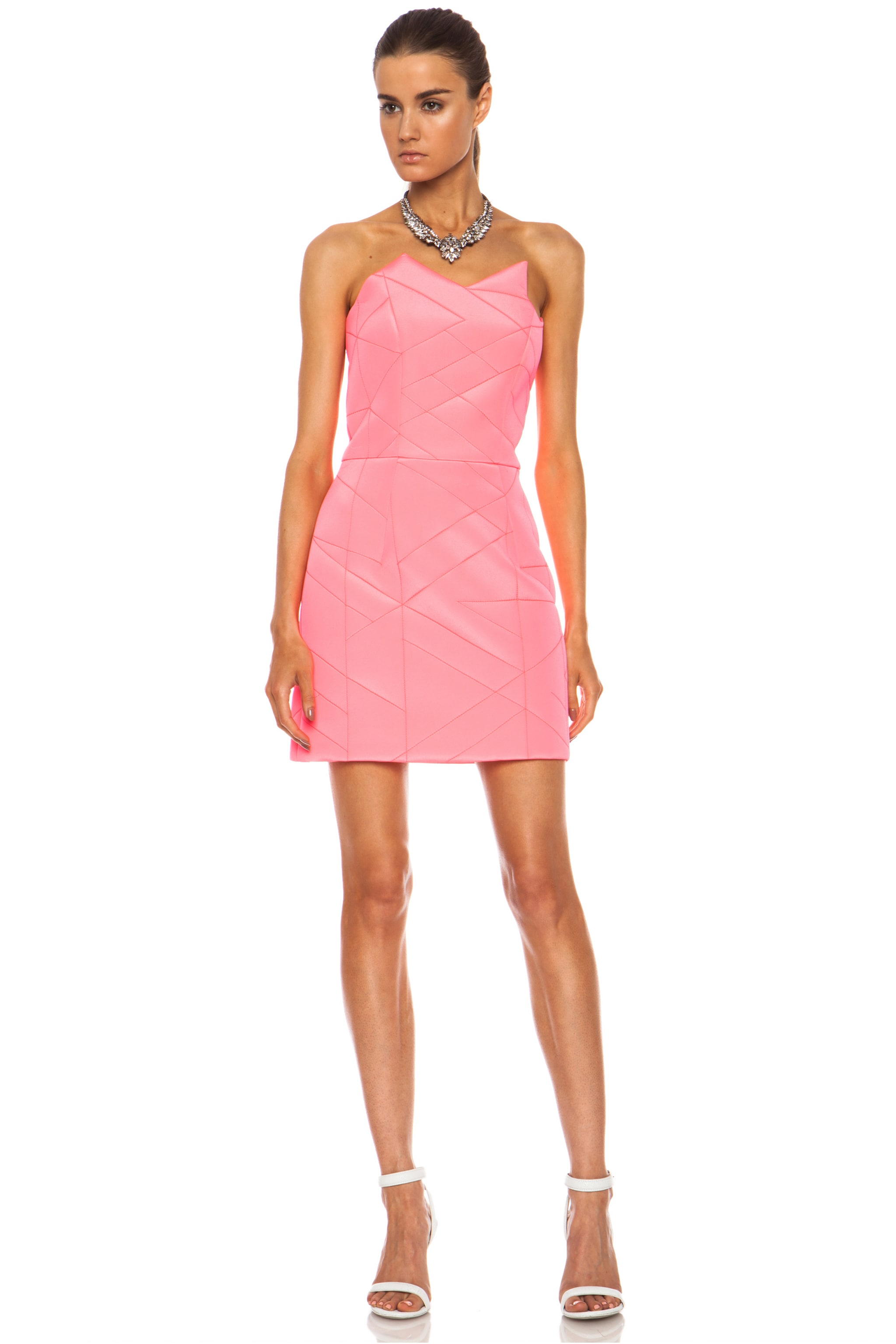 Image 1 Of Preen By Thornton Bregazzi Ross Viscose Blend Dress In Fluorescent Pink