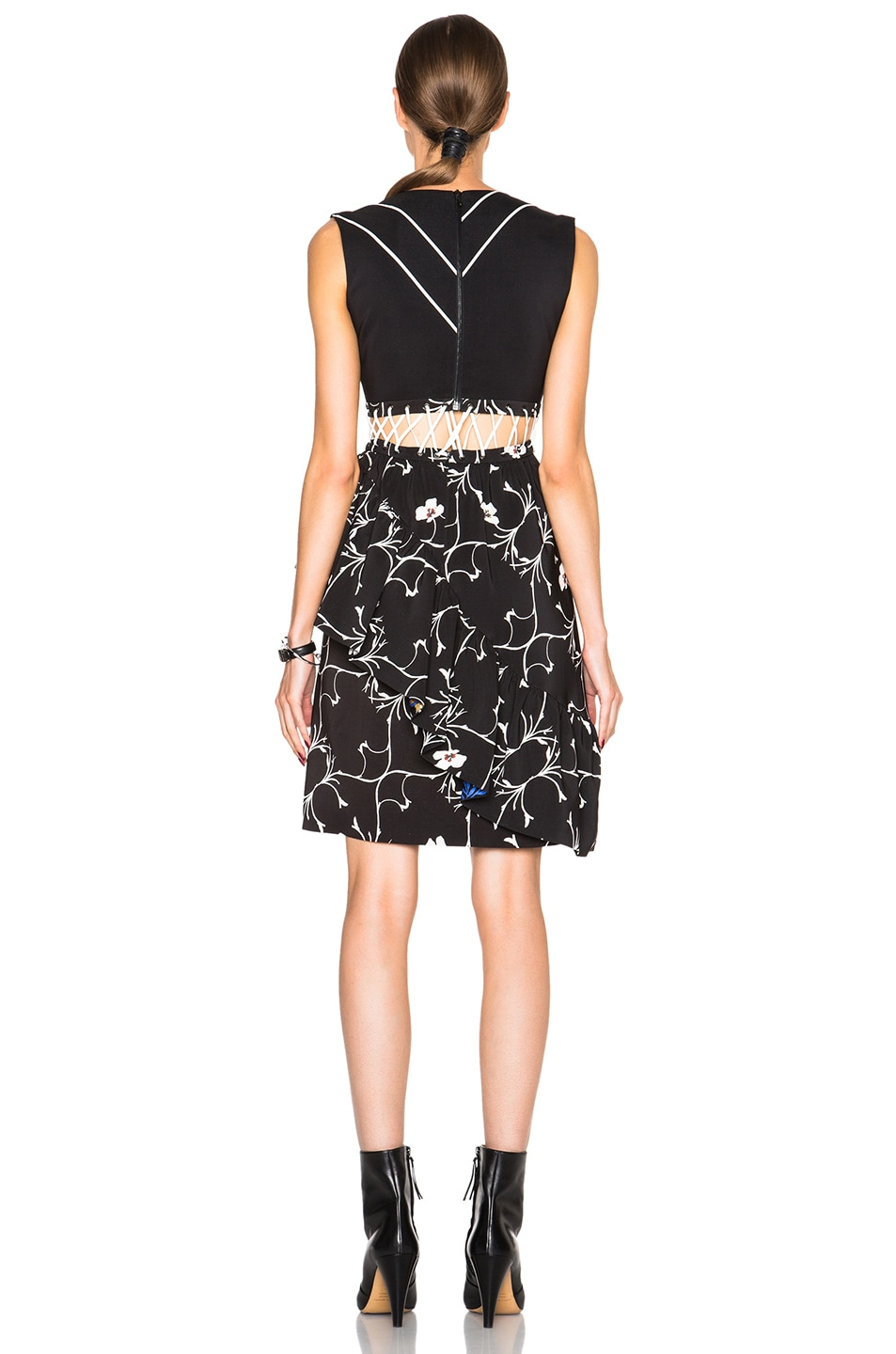 Image 4 of Preen by Thornton Bregazzi Lina Dress in Black & White Leaf