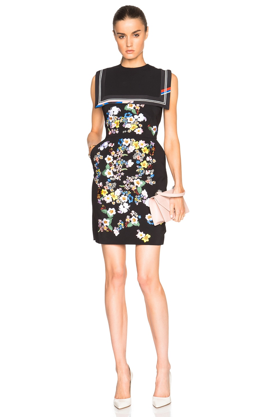 Image 1 of Preen by Thornton Bregazzi Avella Dress with Flower Embroidery in Black