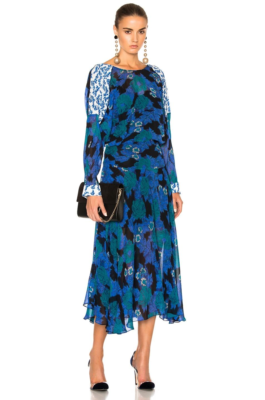 Image 1 of Preen by Thornton Bregazzi Laverne Dress in Cobalt Flower & Sky Leaf