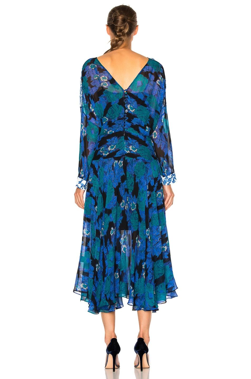 Image 4 of Preen by Thornton Bregazzi Laverne Dress in Cobalt Flower & Sky Leaf