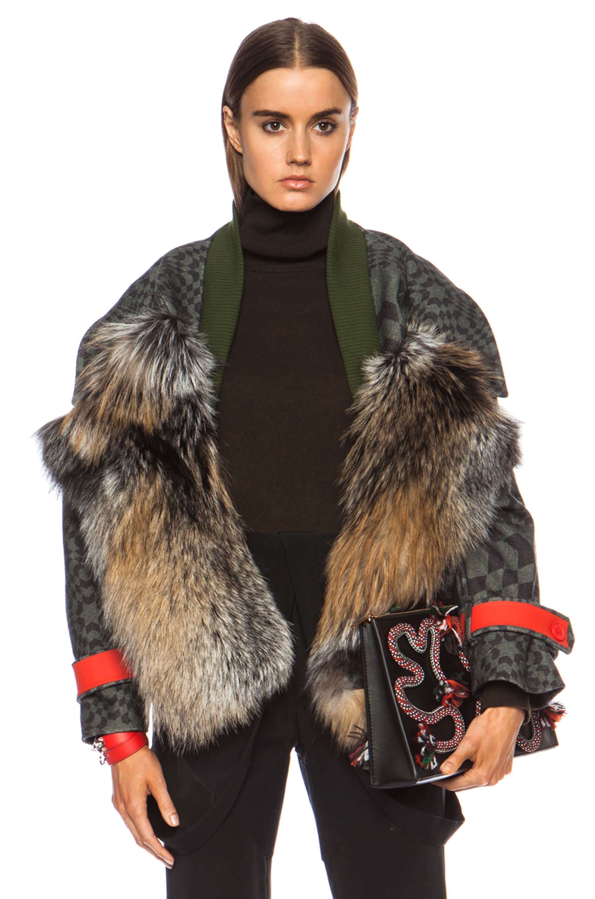 Image 1 of Preen by Thornton Bregazzi Falcon Fox Wool Jacket in Green Starbox