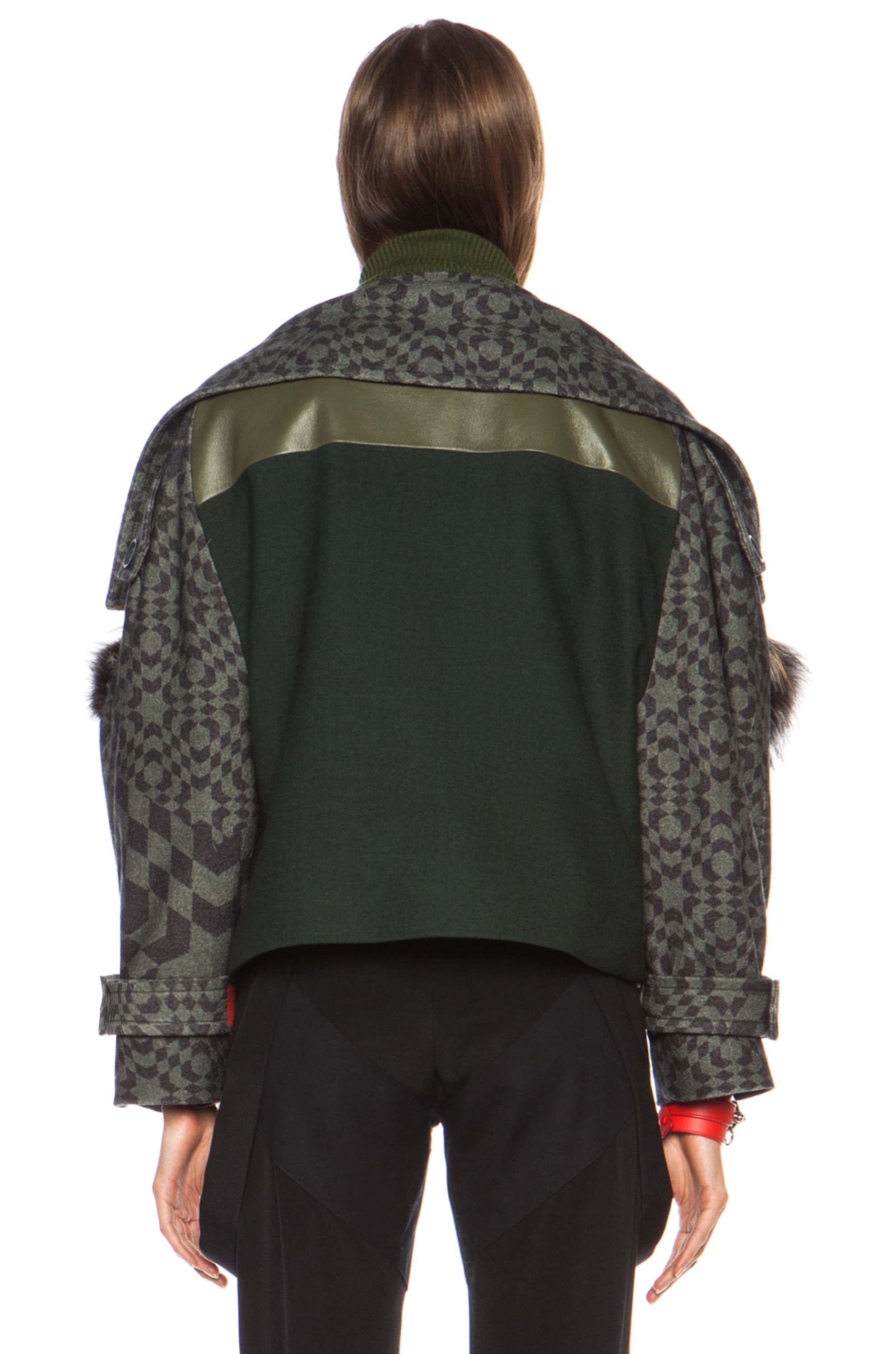 Image 4 of Preen by Thornton Bregazzi Falcon Fox Wool Jacket in Green Starbox
