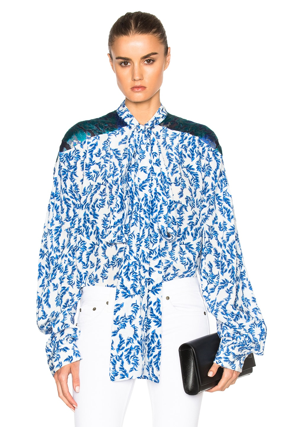 Image 1 of Preen by Thornton Bregazzi Corina Top in Blue & Sky Leaf