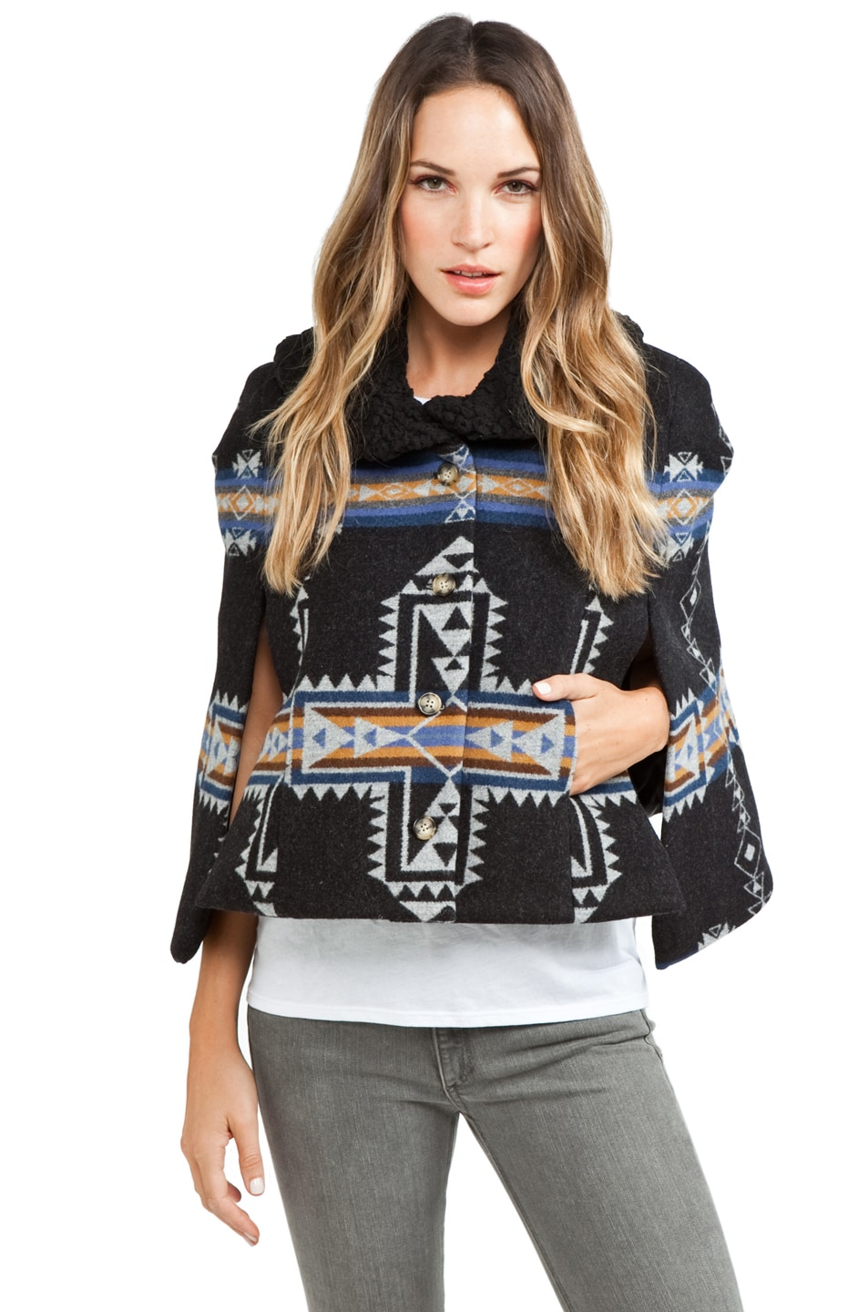 Image 1 of PENDLETON x Opening Ceremony Two Pocket Cape in Blue/Black
