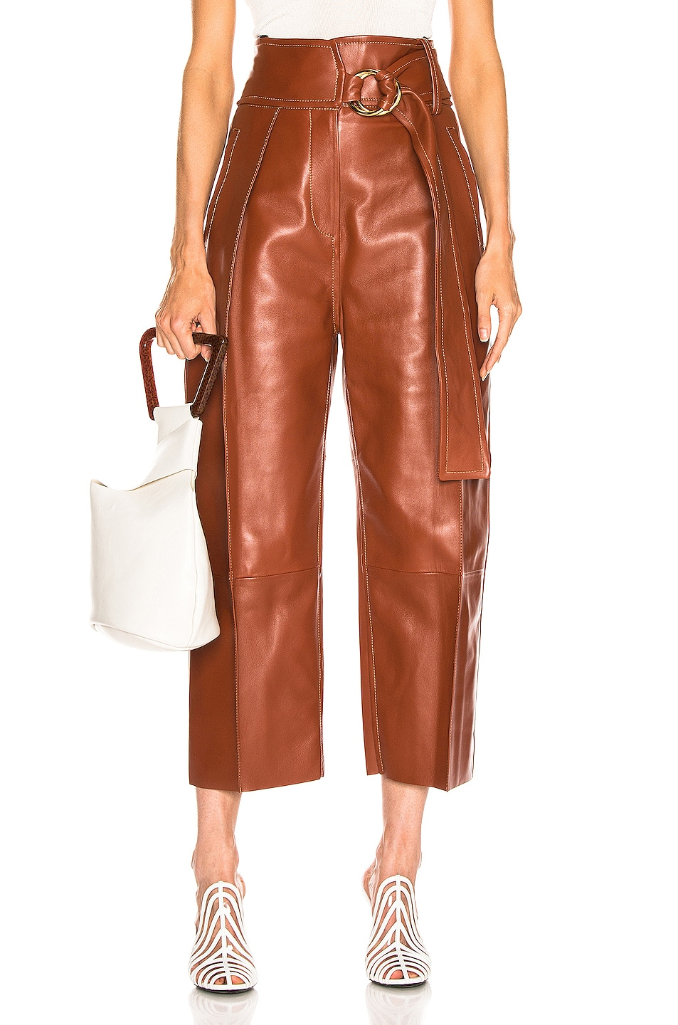 Image 1 of Petar Petrov Haena Wide Leg Leather Pant in Brown