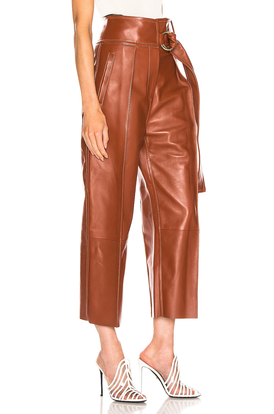 Image 2 of Petar Petrov Haena Wide Leg Leather Pant in Brown