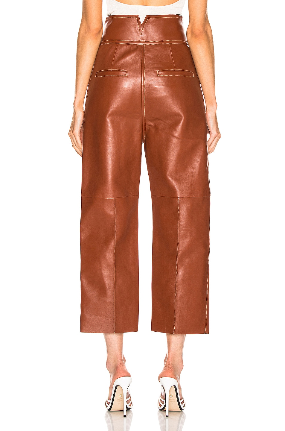 Image 3 of Petar Petrov Haena Wide Leg Leather Pant in Brown