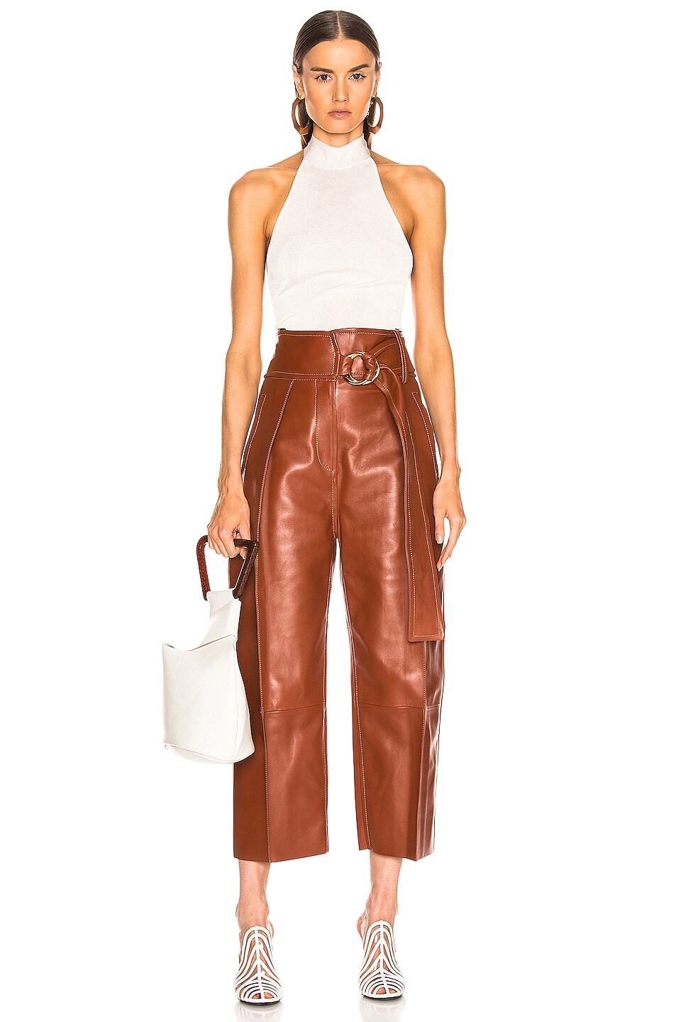 Image 4 of Petar Petrov Haena Wide Leg Leather Pant in Brown