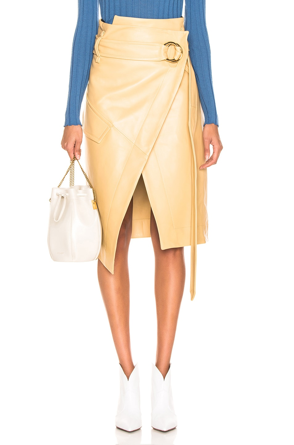 Image 1 of Petar Petrov Leather Rita Skirt in Mustard