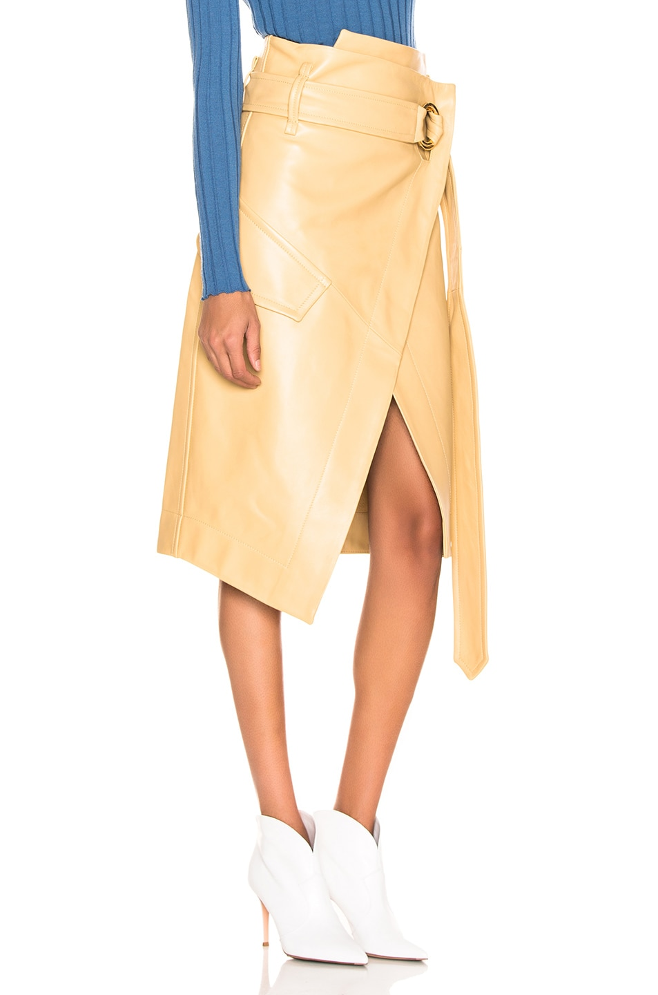 Image 2 of Petar Petrov Leather Rita Skirt in Mustard