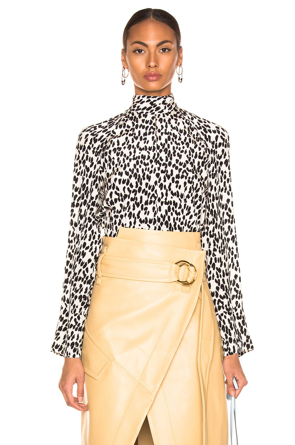 Image 1 of Petar Petrov Belva Blouse in Ice Leopard & Ivory