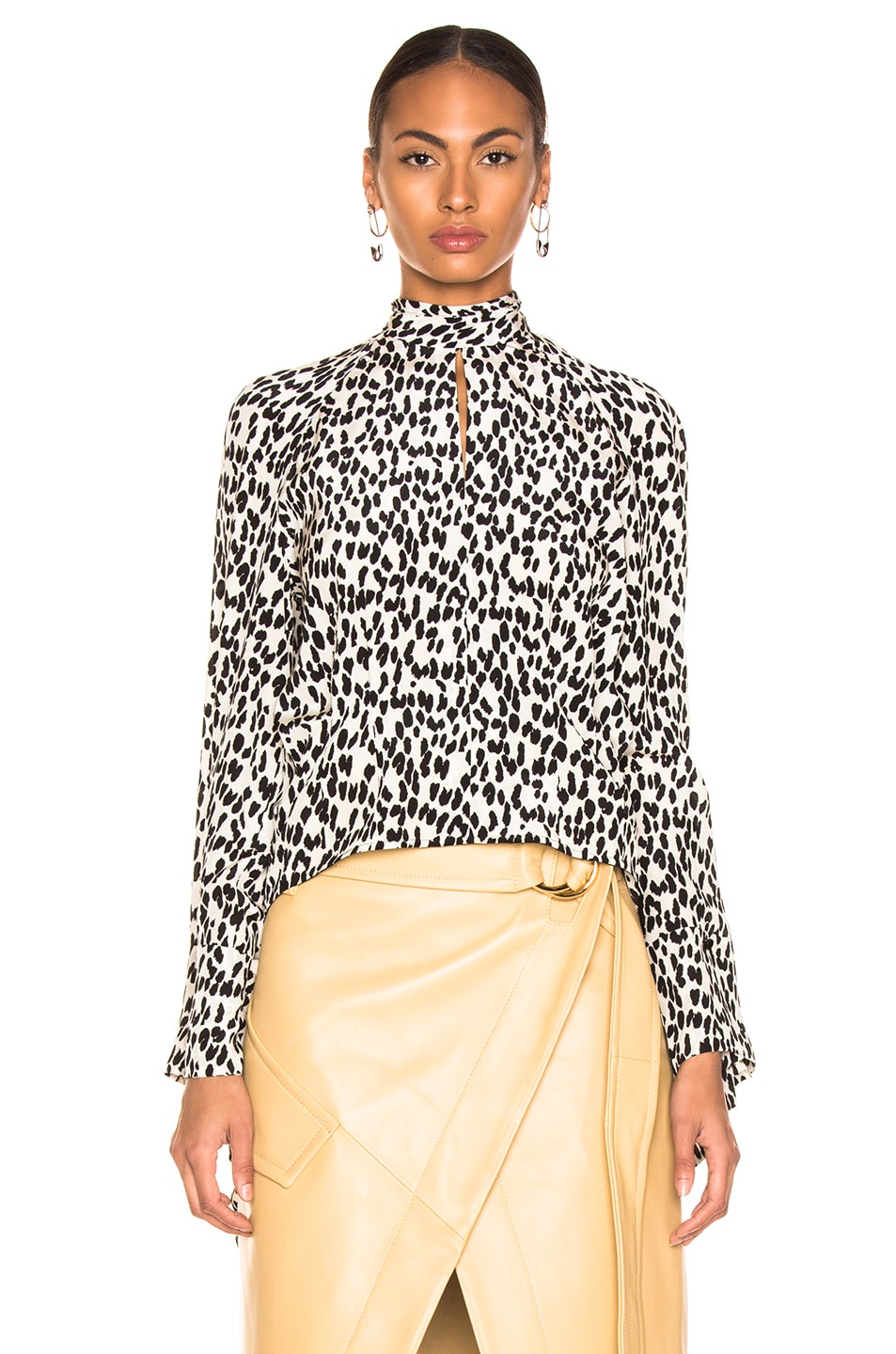 Image 2 of Petar Petrov Belva Blouse in Ice Leopard & Ivory