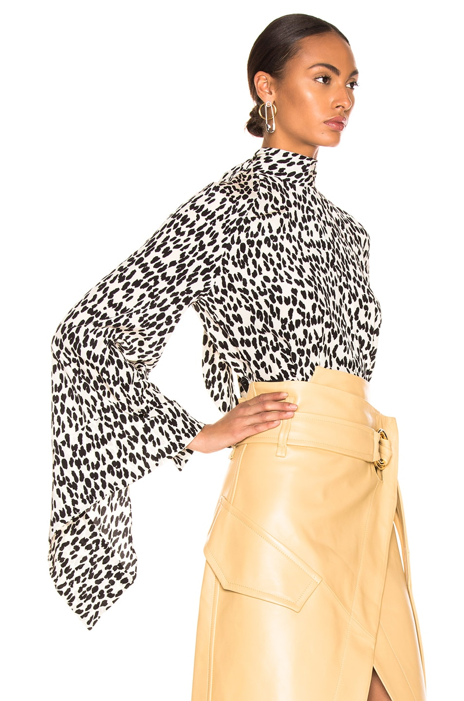 Image 3 of Petar Petrov Belva Blouse in Ice Leopard & Ivory