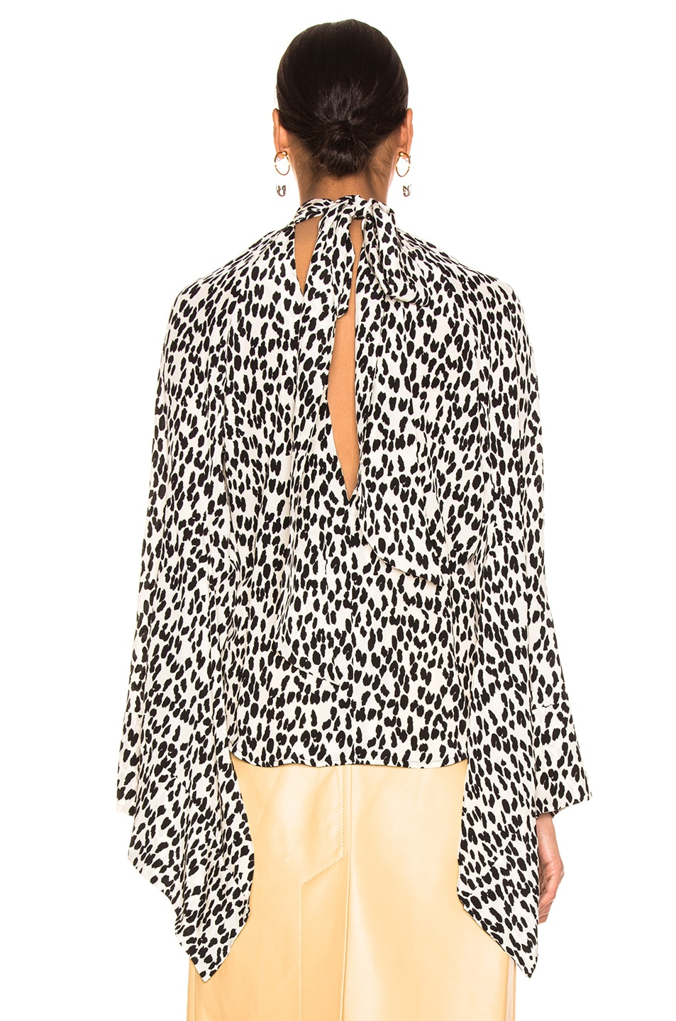 Image 4 of Petar Petrov Belva Blouse in Ice Leopard & Ivory