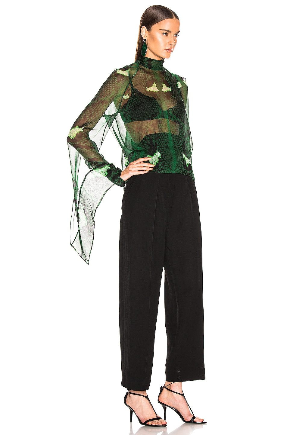 Image 2 of Petar Petrov Barry Blouse in Green Snake