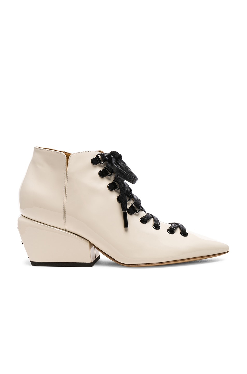 Petar Petrov PETAR PETROV PATENT LEATHER SACHA BOOTS IN WHITE