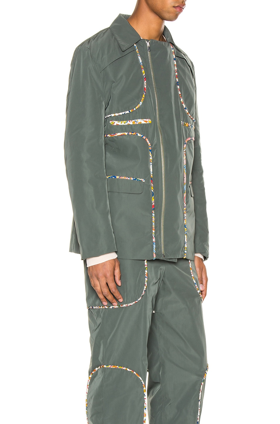 Image 3 of Paria Farzaneh Piping Panel Suit Jacket in Teal