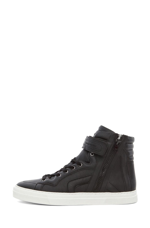 Image 1 of Pierre Hardy Paper Calf Hi Top Sneaker in Black
