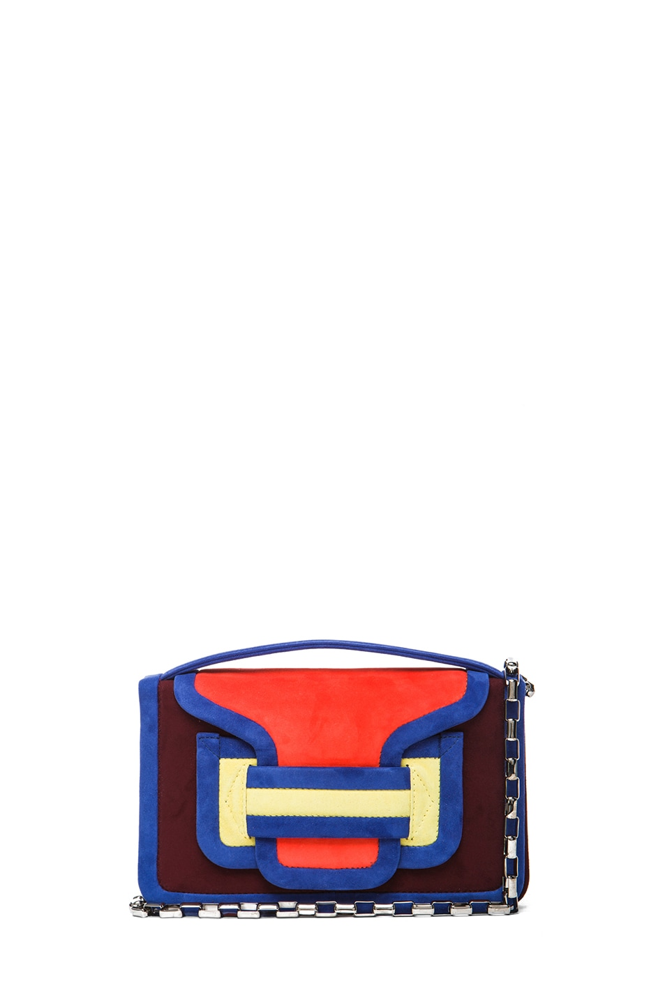 Image 1 of Pierre Hardy Color-block Suede Bag in Quadri Red