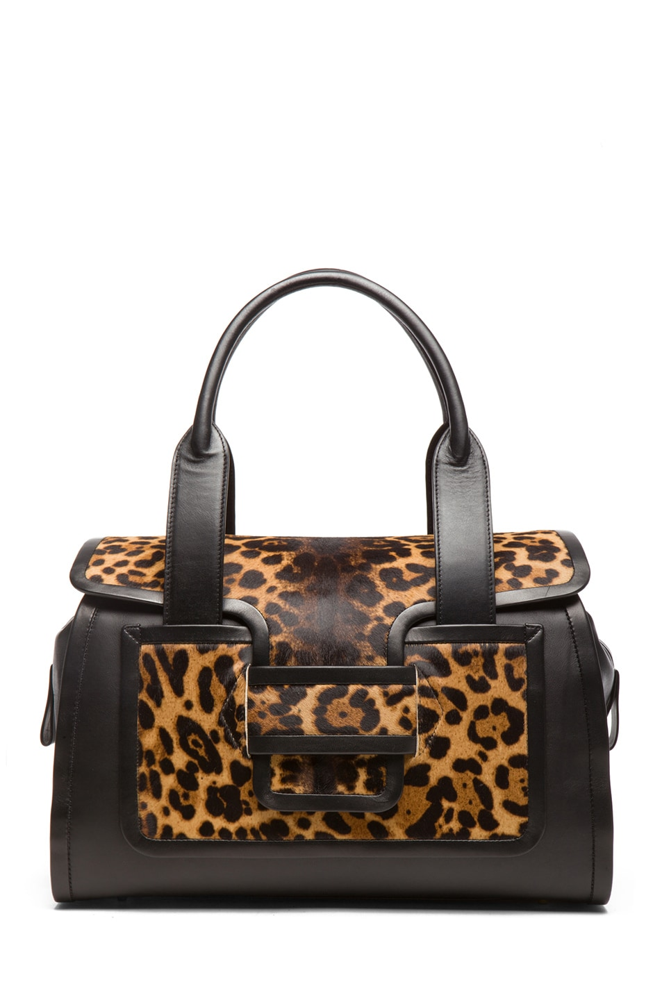 Image 1 of Pierre Hardy Leopard Calf Hair Tote in Natural & Black