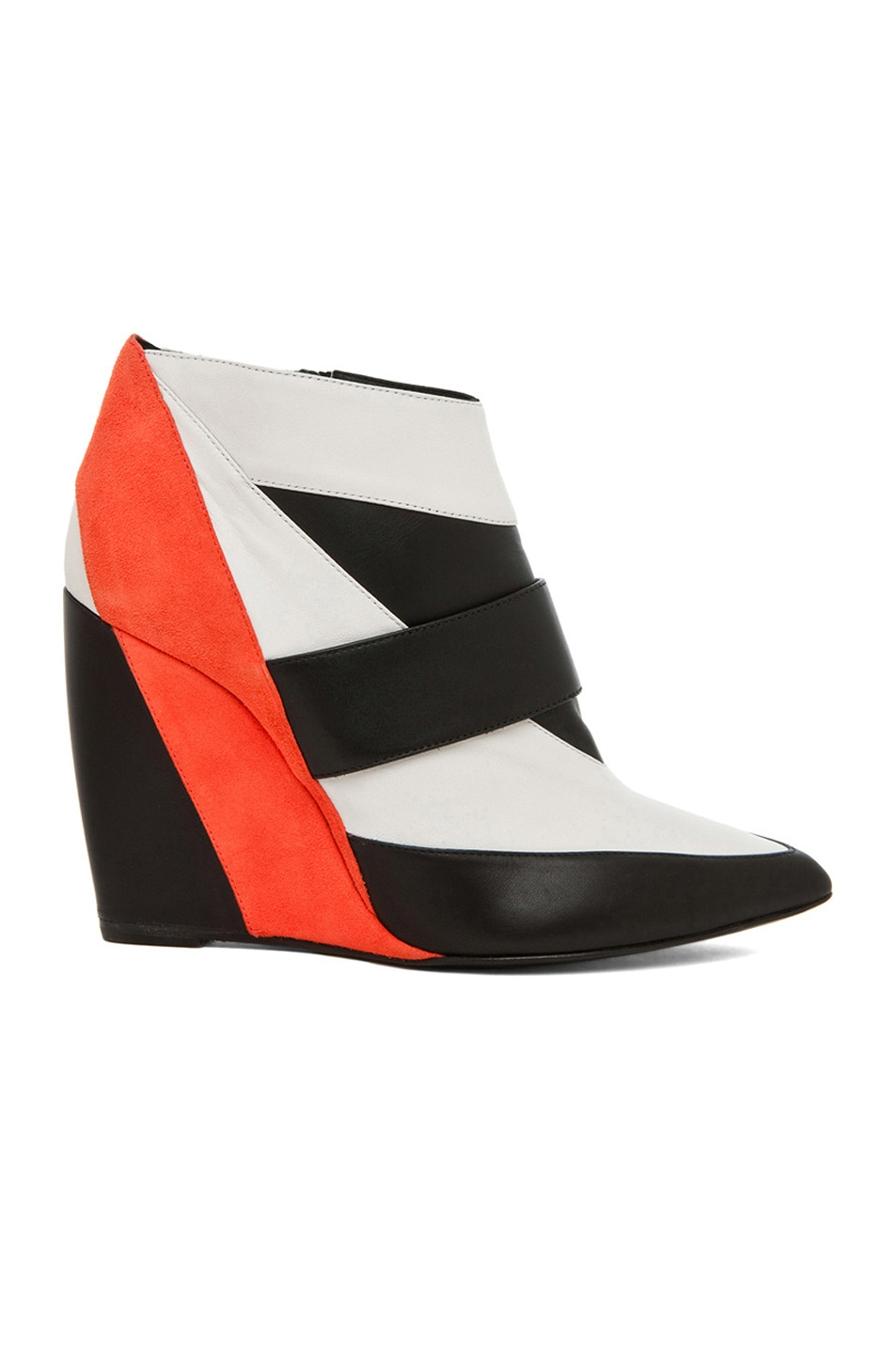 Image 1 of Pierre Hardy Calfskin & Nappa Leather Colorblock Wedges in Trico