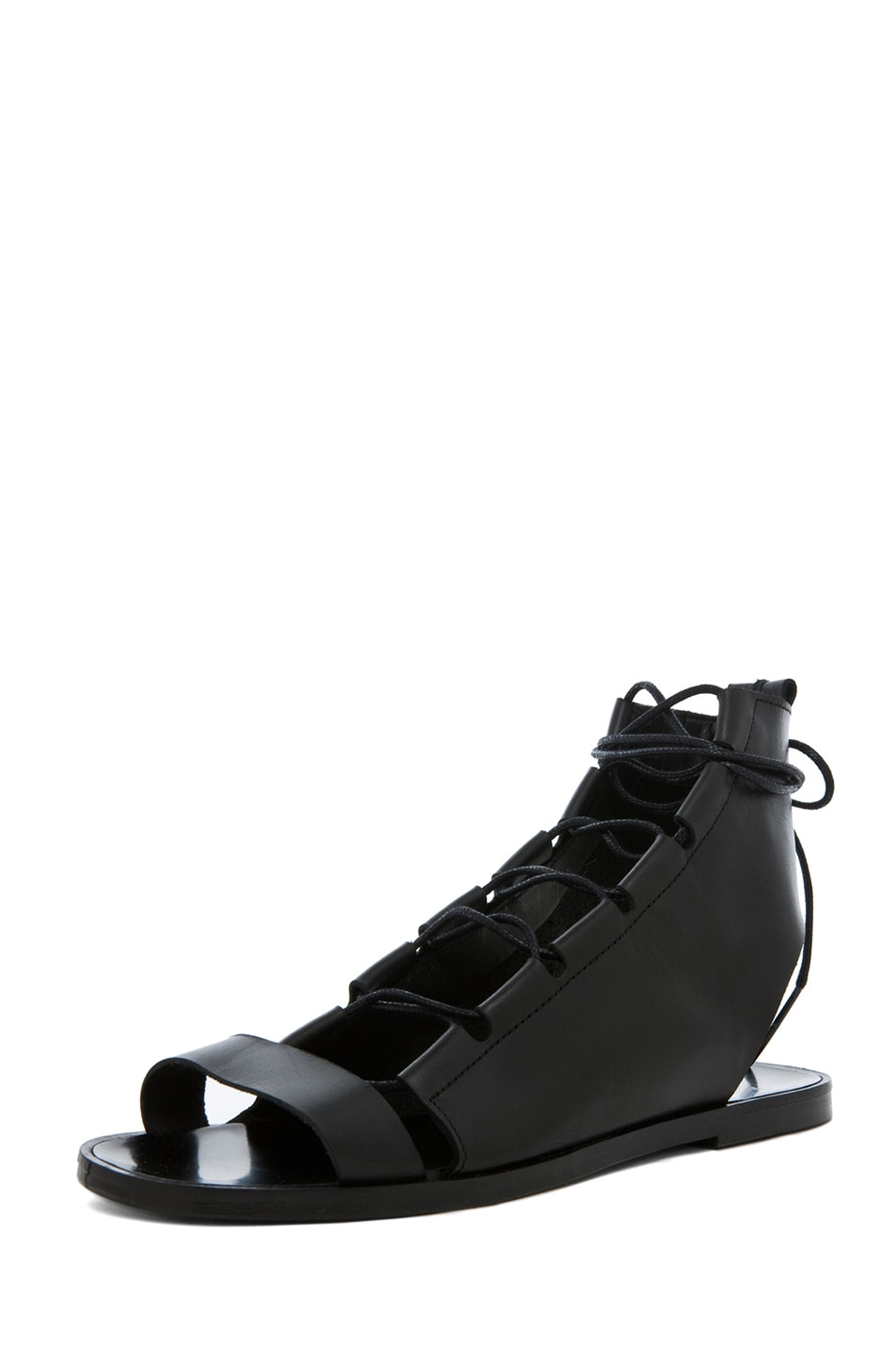 Image 2 of Pierre Hardy Gladiator Leather Sandals in Black