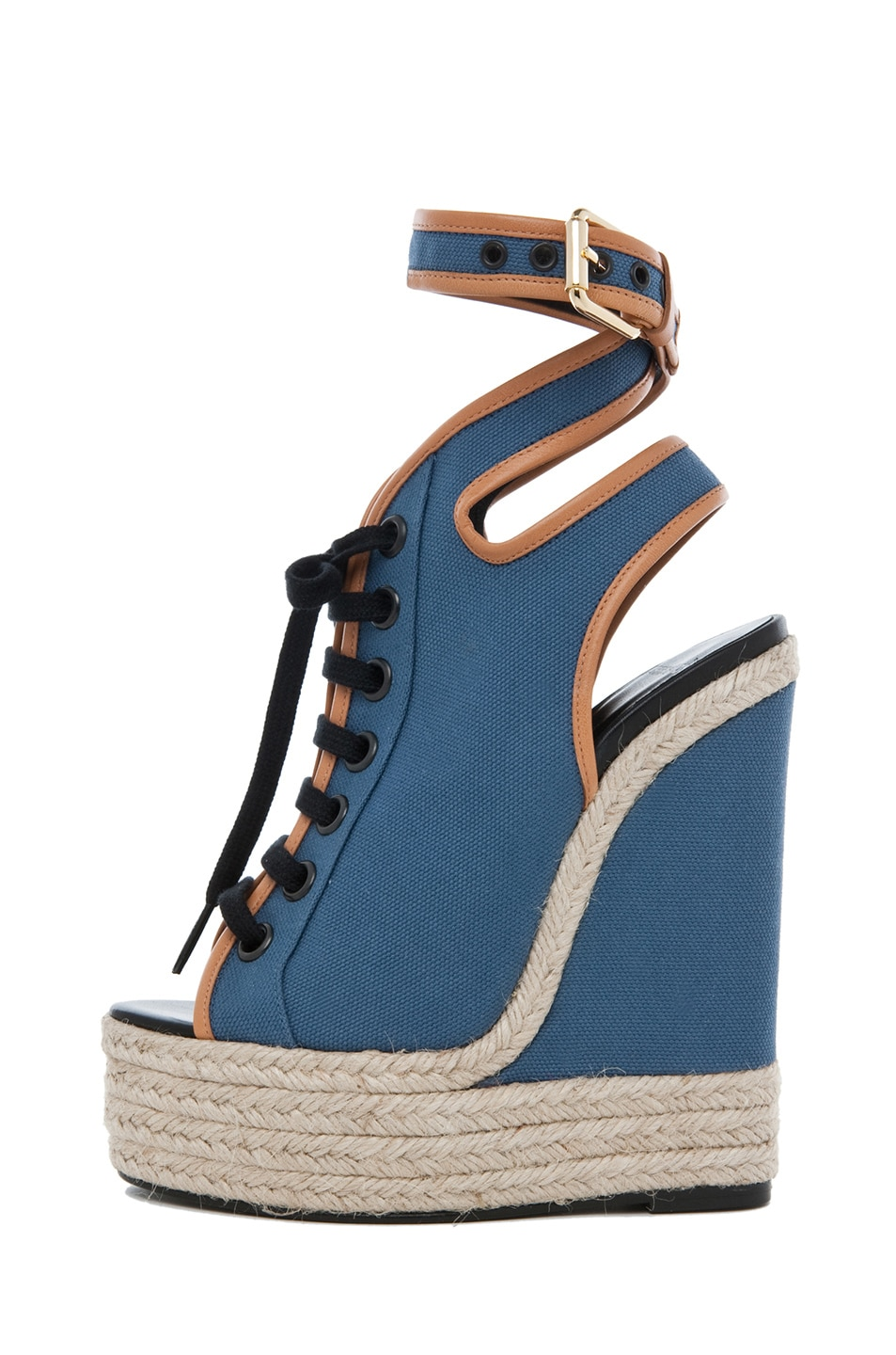 Image 1 of Pierre Hardy Canvas Wedge in Blue & Natural