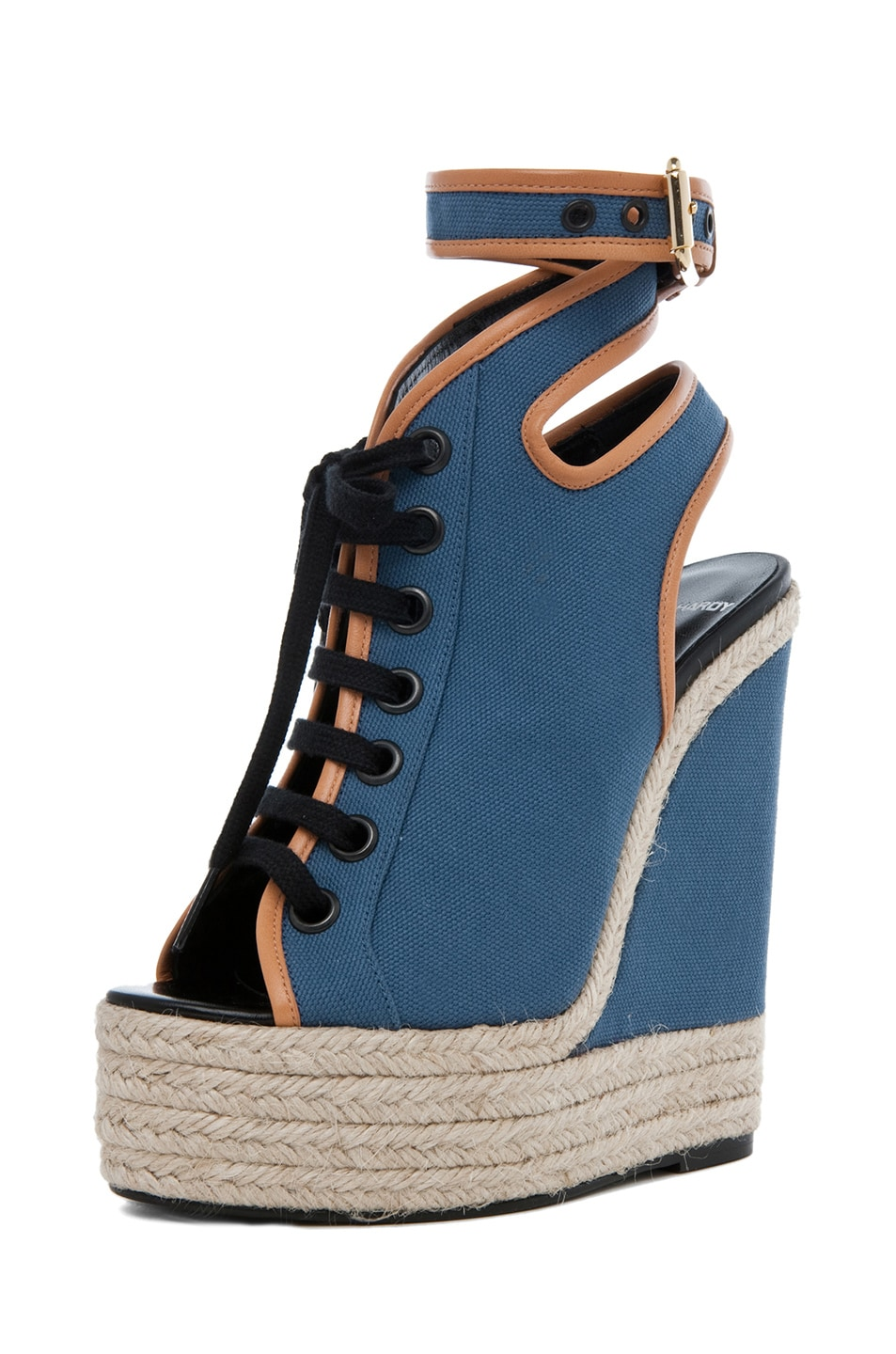 Image 2 of Pierre Hardy Canvas Wedge in Blue & Natural