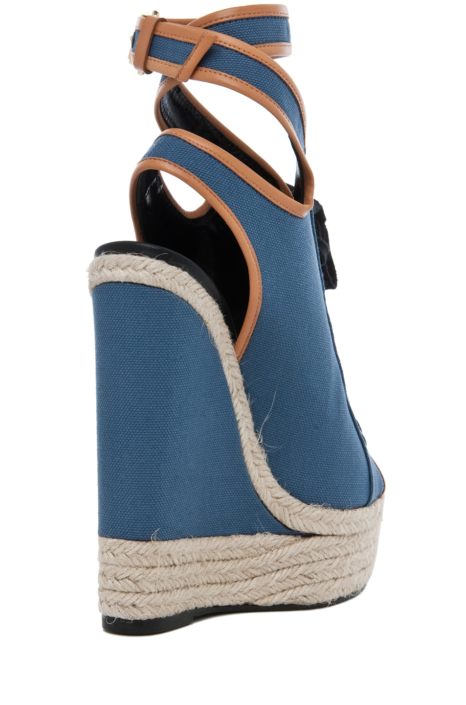 Image 3 of Pierre Hardy Canvas Wedge in Blue & Natural