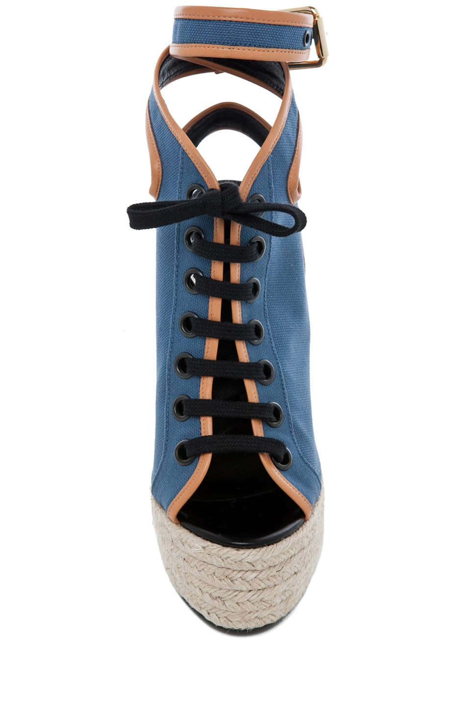 Image 4 of Pierre Hardy Canvas Wedge in Blue & Natural