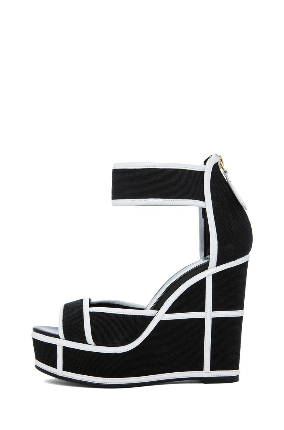 Image 1 of Pierre Hardy Canvas Wedges in Black & White